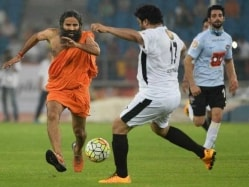 Baba Ramdev, Dhoti-Clad, Shows Football Skills at Celebrity Match