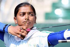 In this file photo, Deepiks Kumari is seen taking aim at the target during an archery event.