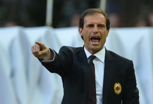 In this file photo, Massimiliano Allegri gestures from the sideline during an AC Milan match.