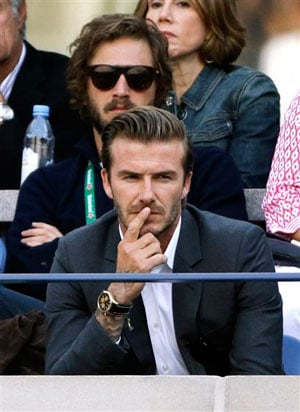 David Beckham is shown on the big screen at the Arthur Ashe Stadium and is met by a chorus of whistles. The former England captain played for the LA Galaxy in the Major League Soccer.