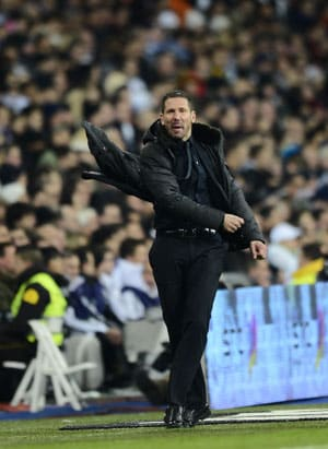 In this file photo, Diego Simeone looks on as Atletico Madrid plays a game.