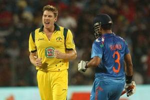 1st ODI Live Cricket Score: James Faulkner and Suresh Raina