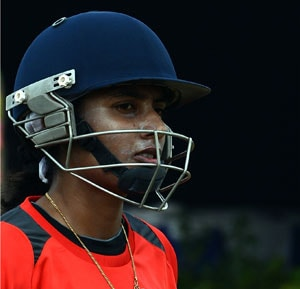 In this file photo, Mithali Raj geras up for a training session.