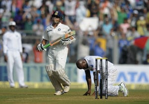 Advantage India in Sachin Tendulkar's final Test West Indies were looking down the barrel at close of play on Day 2 of the Mumbai Test on Friday. At stumps, the visitors were 43 for three in the second innings after India took a first innings lead of 313 runs. With every wicket that fell, the chance of a second Sachin Tendulkar innings in his 200th and last Test looked bleaker.