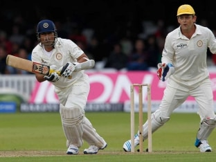 Sachin Tendulkar in action against Rest of the World at Lords.