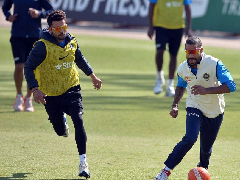 Virat Kohli and Shikhar Dhawan play a bit of football to keep fit ahead of the first Test vs England