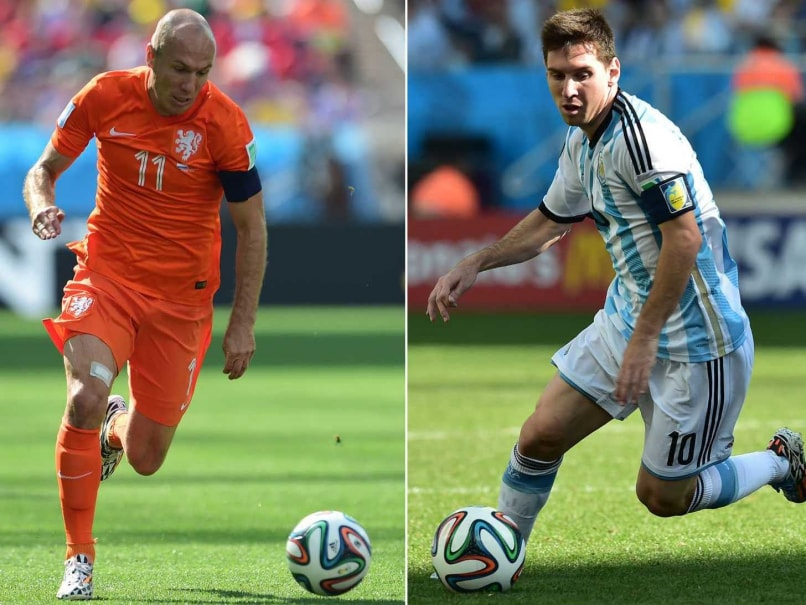 Netherlands forward Arjen Robben at the Corinthians Arena in Sao Paulo on June 23, 2014 and Argentinas forward and captain Lionel Messi at Corinthians Arena in Sao Paulo on July 1, 2014.