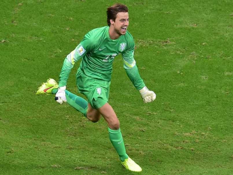 Netherlands goalkeeping hero Tim Krul celebrates after helping his side beat Costa Rica on penalties in quarterfinal