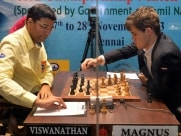 Vishwanathan Anand and Magnus Carlsen during a match