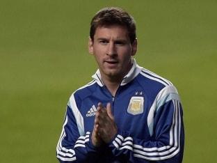 Lionel Messi during practice