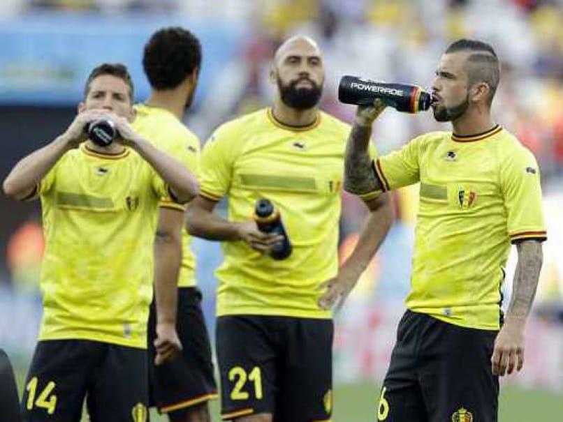 Belgium team in practice ahead of last 16 tie against USA