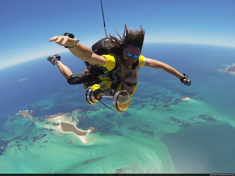 ICC Cricket World Cup Trophy Sky Dives Into Jurien Bay, Western Australia