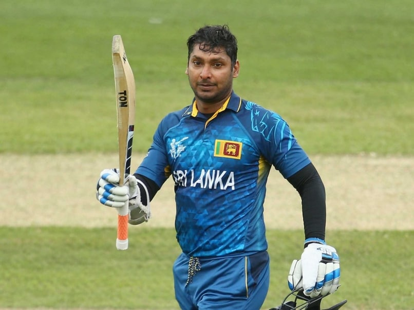 Kumar Sangakkara celebrates his ton against Scotland.