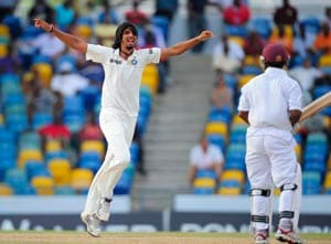 Ishant takes two before lunch against Windies