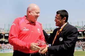 Umpire Davis stands in 100th ODI