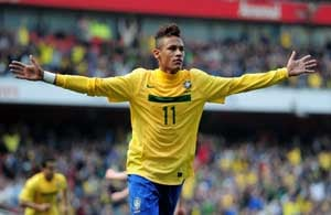 Teenage star Neymar helps Brazil sink Scots