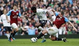 Adebayor earns 10-man Tottenham 1-1 draw at Villa