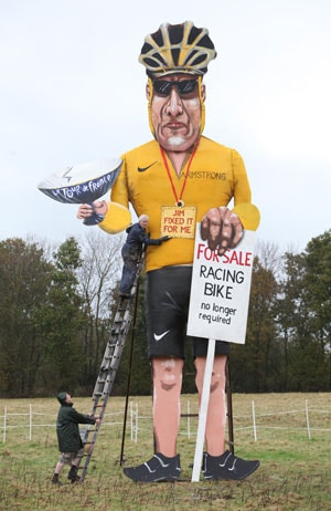 Lance Armstrong effigy up in flames on English bonfire