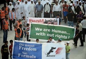 Hundreds protest as Formula 1 teams land in Bahrain