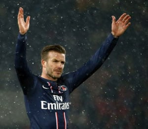 David Beckham makes PSG debut in 2-0 win over Marseille