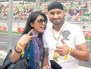 Harbhajan's day out with Geeta Basra at Indian Grand Prix