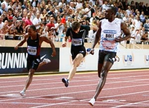 Bolt storms to 100m victory in Monaco