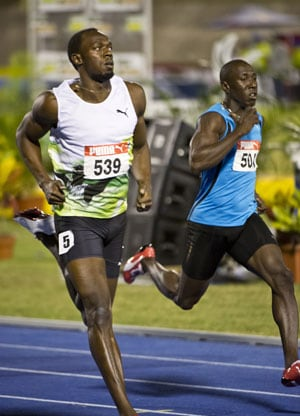 Usain Bolt in 200m semis at Olympic trials