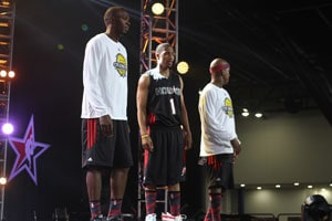 Usain Bolt slam dunks in celebrity NBA match