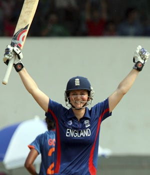 Charlotte Edwards' ton takes England to 272/8 against India