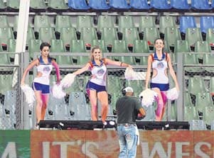 Cheerleaders dance to empty IPL stands