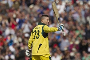 Australia's Michael Clarke brought up his century off 94 balls, raising the bat for his first ODI ton since his 117 against Sri Lanka in March, 2012.