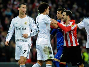 Real Madrid held as Cristiano Ronaldo sees red