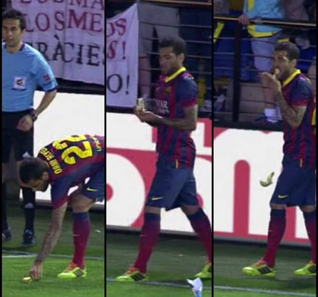 Daniel Alves eats banana in response to racist taunt