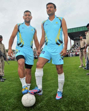CLT20: A day after hitting majestic 63, MS Dhoni plays soccer, scores once