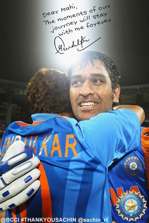 Thank you Mahi for a great journey, says Sachin Tendulkar