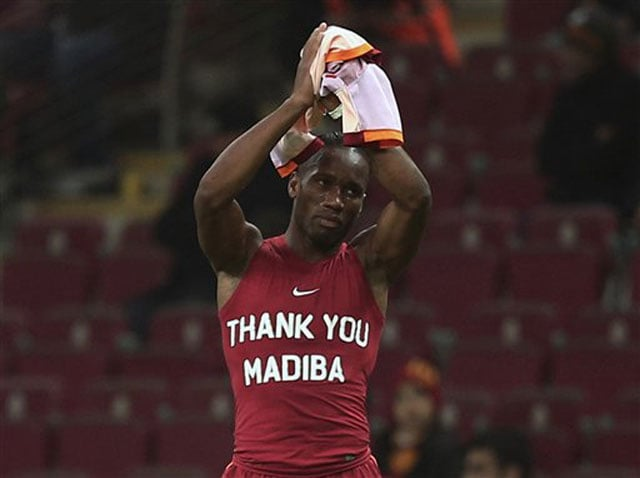 Didier Drogba booked for paying homage to Nelson Mandela