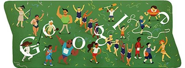 Closing ceremony as Google's Doodle for Sunday