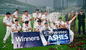 The Ashes: England players celebrate the urn by urinating on Oval pitch