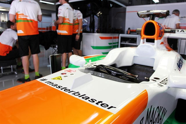 Force India car with #masterblaster