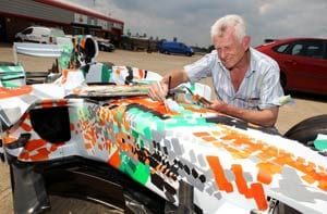 Artwork on Force India car for charity