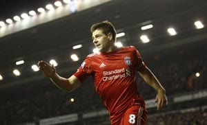 Gerrard treble as Liverpool down Everton