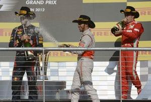 US Grand Prix: Lewis Hamilton gatecrashes Sebastian Vettel's title party