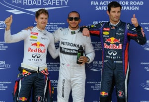 Left to right: Sebastian Vettel, Lewis Hamilton and Mark Webber
