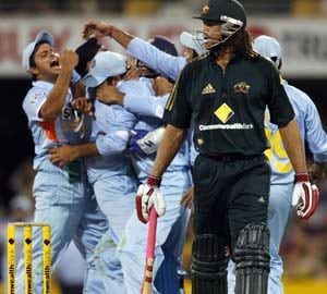 File photo of Team India rushing Harbhajan Singh after he dismissed Andrew Symonds in the Commonwealth Bank series in 2008.