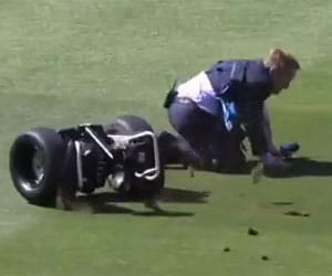 Watch: Ian Healy crashes and falls off Segway