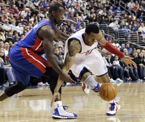 Iguodala leads 76ers past Pistons 95-74