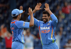 India vs Sri Lanka: Raina, Jadeja celebrates wicket