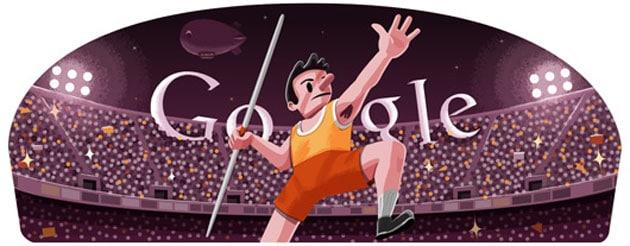 London 2012 Javelin: Google Doodle 'throws' one