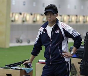 London 2012 Shooting: South Korea's Jin Jong-oh wins 10m air pistol gold