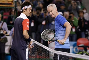 John McEnroe faces Kei Nishikori in charity match in Japan